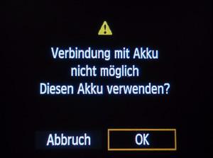 Netzadapter_ACK-E6_Batteriewarnung
